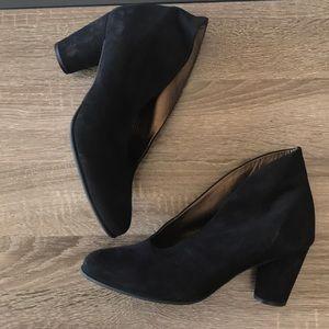 Arche Black Suede Heeled Booties